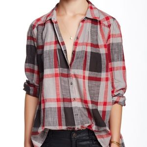 Free People Peppy In Plaid Button Up Top XS